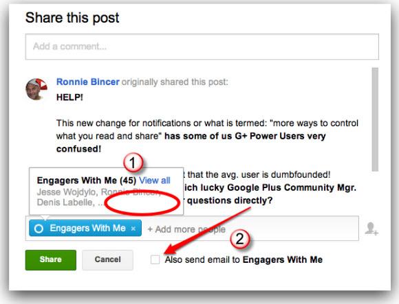 google plus notifications in sharing box
