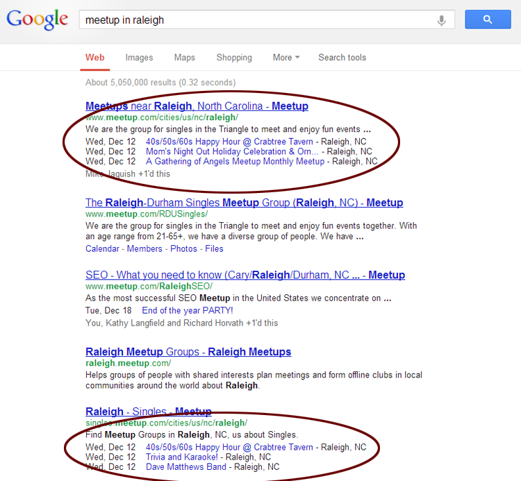 Meetup.com events in the Google SERP