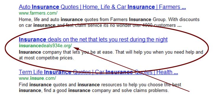 insurance SERP
