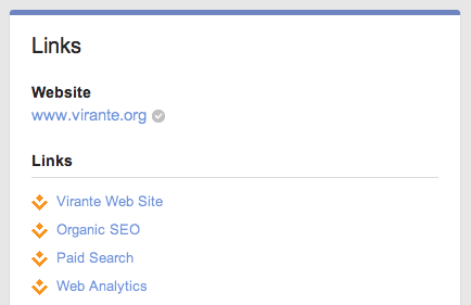 Link section of a Google Plus Page
